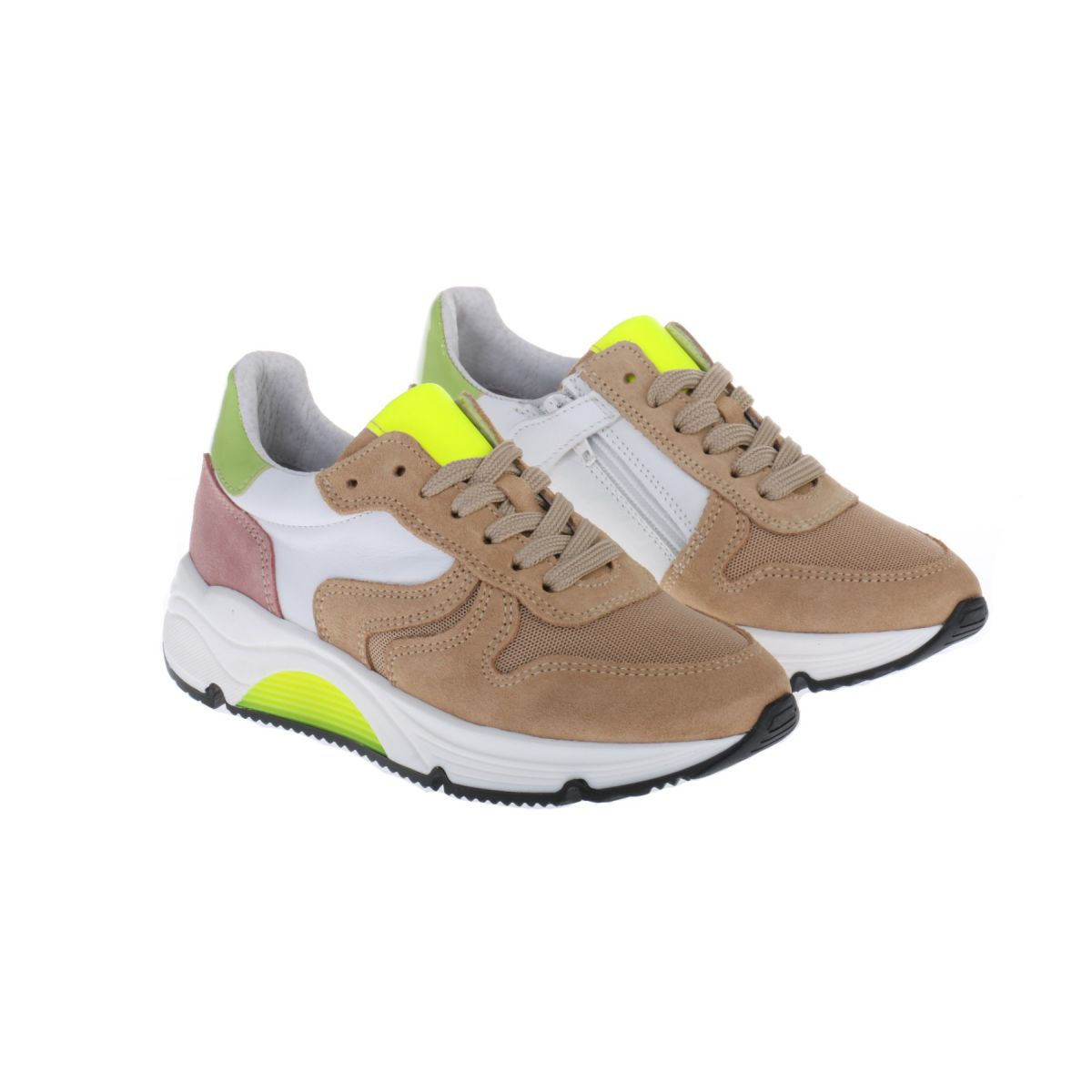 HIP H1343 Sneakers Beige Mint Groen