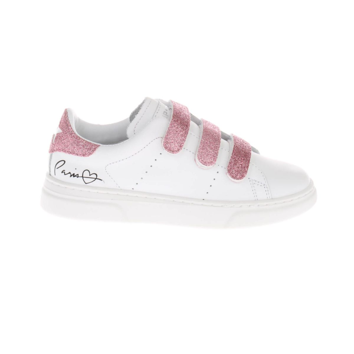 HIP H1338 Sneakers Wit Roze Glitter