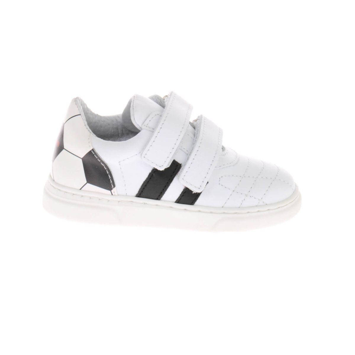 Pinocchio P1324 Voetbal Sneakers Wit Klittenband