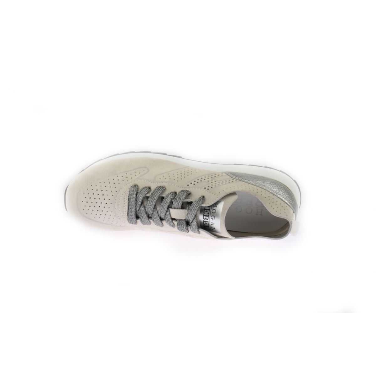 Beige Hogan Rebel Sneakers Met Perforaties